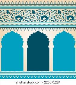 Traditional blue Indian saree temple design