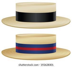 Traditional boater hats with variations in straw and ribbon color.