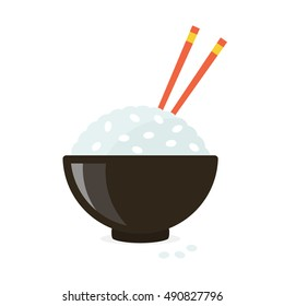 Traditional bowl of rice with chopsticks. flat vector illustration isolated on white background