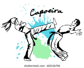 Traditional brazilian sport capoeira. Demonstrations of two fighters of the Brazilian national martial art Capoeira.