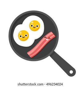 Traditional breakfast food illustration, fried eggs with bacon on frying pan. Cute cartoon smiling faces.