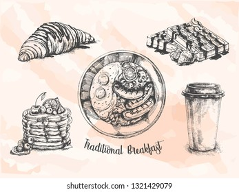 Traditional breakfast set. English breakfast, coffee, croissant, toast, waffle. Food elements collection. Vector illustration.Coffee house menu.Sketch style. For cafe menu, brochure, fliers.