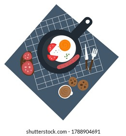 Traditional breakfast top view vector illustration. Fried egg with sausage in a frying pan, coffee and sandwich. Food elements collection.