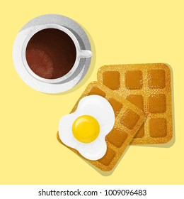 Traditional breakfasts top view.Food menu design.Fried egg, toast, waffle, coffee,  cappuccino, mocha,latte,vector illustration of breakfast. Vintage engraving brunch.