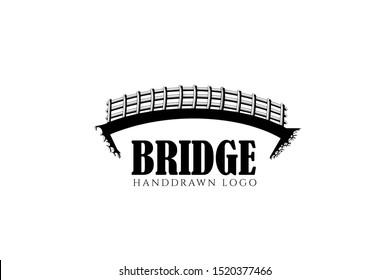 traditional bridge logo template with hand drawn arch bridge