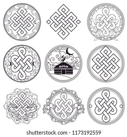 Traditional buddhist symbols of luck. Set of vector signs