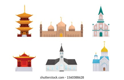 Traditional buildings of different religions. Vector illustration.