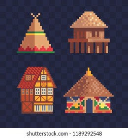 Traditional buildings houses icons set. Stylized facade of old building. African tribal hut. Native american indian wigwam. Rural house. Isolated vector. 8-bit sprite. Design for sticker or magnet.