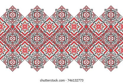 Traditional Bukovina folk art knitted embroidery pattern.