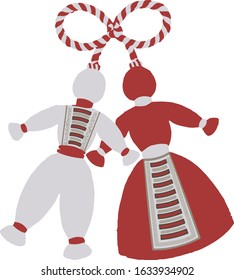 Traditional Bulgarian vector Martenitsa symbol with male and female figure in red and white