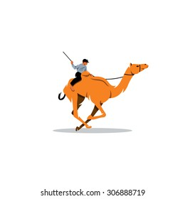 Traditional Camel Race in Middle East sign. Qatar UAE sport. Jockey rider. Vector Illustration. Branding Identity Corporate logo design template Isolated on a white background