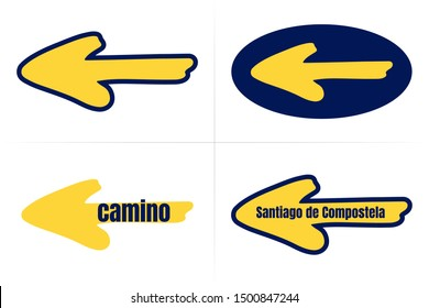 Traditional camino yellow arrow symbol with dark blue. Directional sign for pilgrims in Saint James way. Camino de Santiago de Compostela. Vector, isolated on white background.