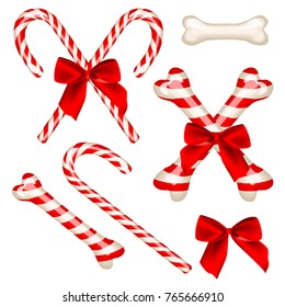 Traditional candy cane and candy cane in bone shape. Sweet caramel stick for dog - symbol of the 2018 year. Vector illustration, isolated on white background. Set includes several elements.