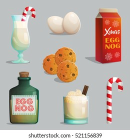 Traditional Catholic Christmas treats, egg nog bottles and glasses with cream, cinnamon, festive candy cane, chocolate chip cookies.