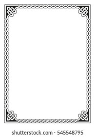 Traditional Celtic braided border, black isolated on white