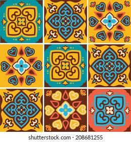 Traditional ceramic tiles patterns , vector illustration