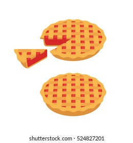 Traditional cherry or strawberry pie with lattice, whole and slice. Vector illustration.