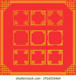 The Traditional china ornament with 9 borders, frames decoration.