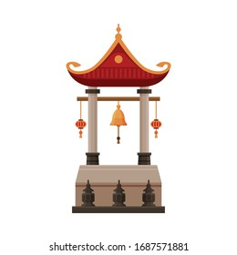 Traditional Chinese Building, Cultural Asian Architecture Object, Gate, Ancient Temple Vector Illustration