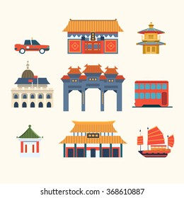 Traditional Chinese Buildings, Hong Kong travel elements. Vector Illustration Collection
