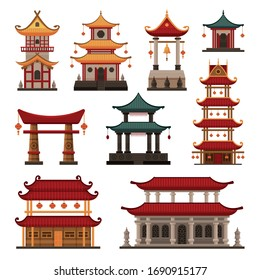 Traditional Chinese Buildings Set, Pagoda, Ancient Temple, Gate, Cultural Oriental Architecture Objects Vector Illustration