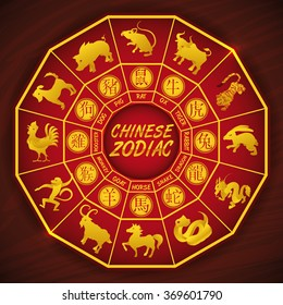 Traditional Chinese calendar with all zodiac animals silhouettes.