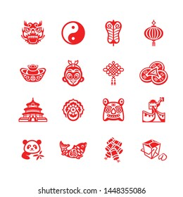 Traditional Chinese culture symbols and objects icon-set