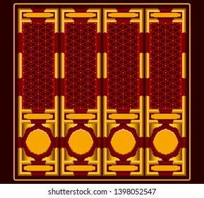 Traditional Chinese door graphic vector