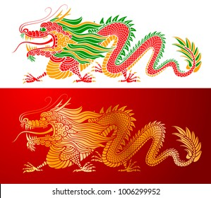 Traditional Chinese Dragon. Golden and colored, isolated on white background. Vector illustration.