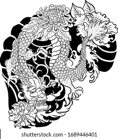 Traditional Chinese dragon for tattoo or painting on wallpaper background.Hand drawn Japanese tattoo design with flower and wave for printing on jacket or T-shirt style Asian.