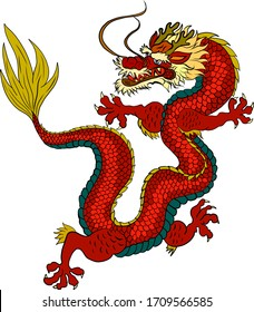 Traditional chinese dragon for tattoo or stickers design.Japanese dragon for doodle and coloring book on background.Dragon vector illustration for printing on shirt.