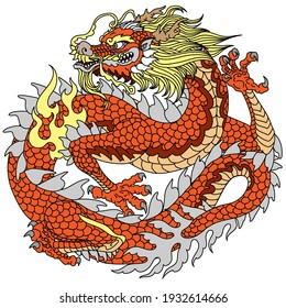 Traditional Chinese or East Asian dragon. Vector illustration