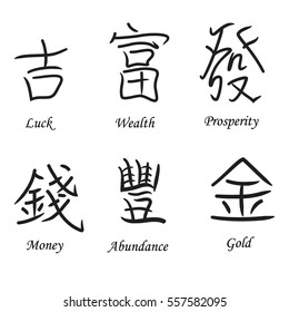 Traditional Chinese Finance Hieroglyphs Symbolizing Wealth, Abundance and Prosperity. Made in Classical Calligraphy Style. Vector EPS 10