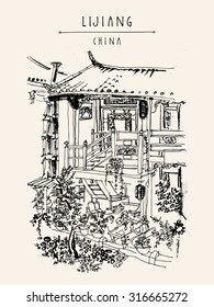 Traditional Chinese house in Lijiang, Yunnan, China. Vintage style travel poster, banner, postcard, coloring book page template or calendar idea