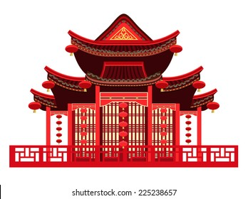 Traditional Chinese House with typical Chinese Lanterns Asian architecture