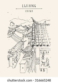 Traditional Chinese houses in Lijiang, Yunnan, China. Vintage style travel poster, banner, postcard, coloring book page template or calendar idea. Vector illustration
