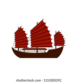 Traditional Chinese junk boat with red sails. Old wooden sailing ship. Asian marine vessel. Symbol of Hong Kong. Flat vector icon