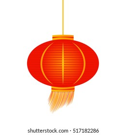 Traditional Chinese lantern in a flat style .icon isolation on a white background to use