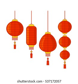 Traditional Chinese lanterns set in isolation in a linear style. flat vector illustration isolate on a white background. easy to use
