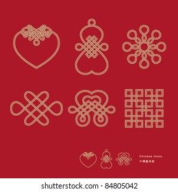 Traditional Chinese lucky knots representing a meaning of infinity and eternity