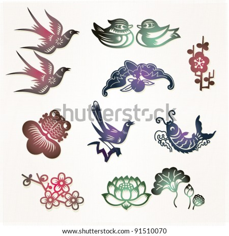 Traditional Chinese Lucky Symbols Lovebirds Mandarin Stock Vector