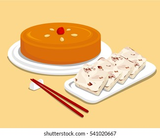 Traditional Chinese New Year Cake and turnip cake (fried radish cake) with chopsticks
