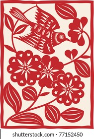 Traditional Chinese paper cutting. Flying bird. Vector