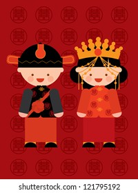 traditional chinese wedding couple/ costume vector/illustration with chinese character that reads double happiness