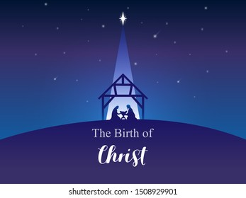 Traditional Christian Christmas Nativity Scene of baby Jesus in the manger with Mary and Joseph in silhouette. The Birth of Jesus Christ in Bethlehem. Night sky with star. Vector illustration for card