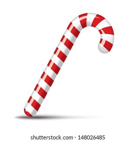 Traditional christmas candy cane on white