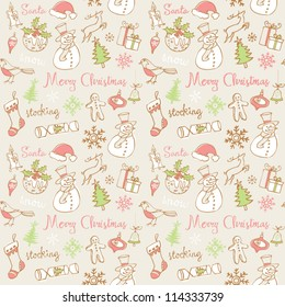 Traditional Christmas doodles icons & words seamless vector