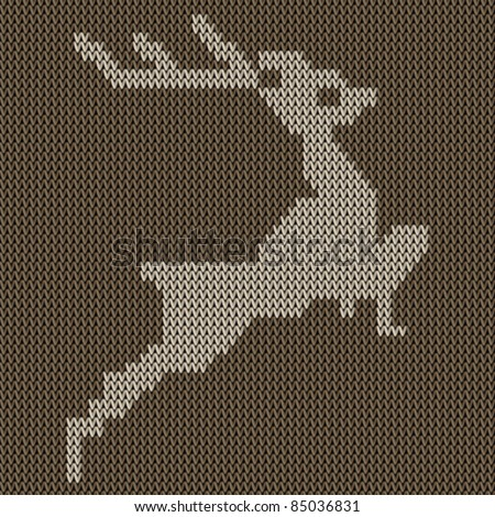 Traditional Christmas Embroidery Pattern Deer On Stock Vector
