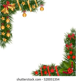 A traditional Christmas Garland made with red berries and decorations on a white background.Festive Holiday  Background. Garland Border Made Of Holly Berries with decorations