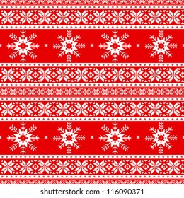 Traditional christmas knitted ornamental pattern with snowflakes